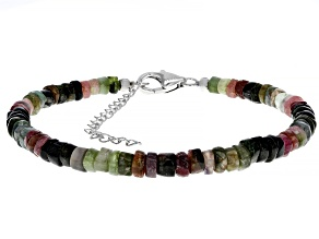 Mixed-tourmaline silver bracelet