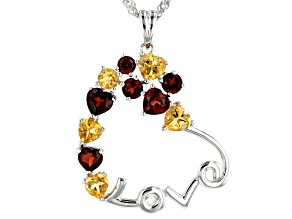 Red garnet rhodium over silver pendant with chain 2.70ctw