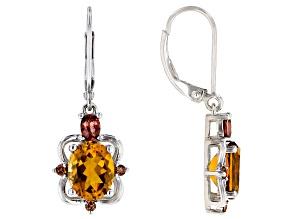 Orange Citrine Rhodium Over Silver Earrings 3.60ctw