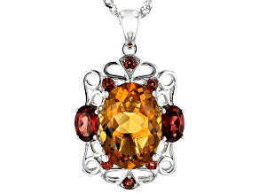 Orange Madeira citrine rhodium over silver pendant with chain 6.80ctw
