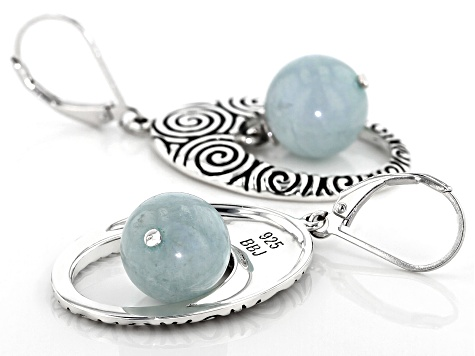Blue Aquamarine Sterling Silver Earrings