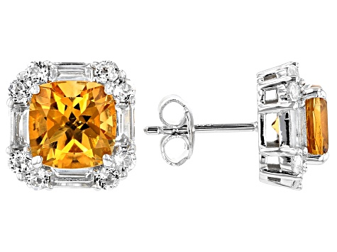 Yellow citrine rhodium over silver earrings 5.58ctw