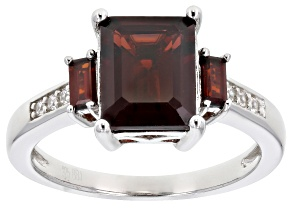Red garnet rhodium over sterling silver ring 2.61ctw