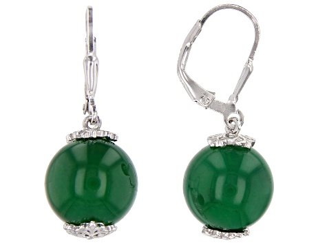 Green Onyx Rhodium Over Sterling Silver Earrings