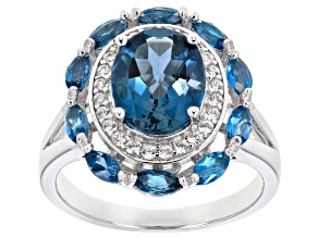 London blue topaz rhodium over silver ring 3.81ctw