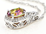 Multicolor Northern Lights(TM) Quartz rhodium over silver pendant with chain 2.40ctw