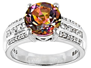 Multicolor Northern Lights(TM) Quartz rhodium over silver ring 2.60ctw