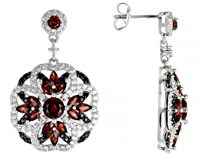 Red garnet  rhodium over silver dangle earrings 5.30ctw