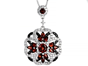 Red garnet rhodium over silver pendant with chain 2.67ctw