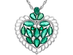Green Onyx Rhodium Over Silver Heart Pendant with Chain