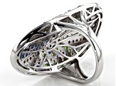 Multi-Gemstone Rhodium Over Sterling Silver Ring 2.45ctw
