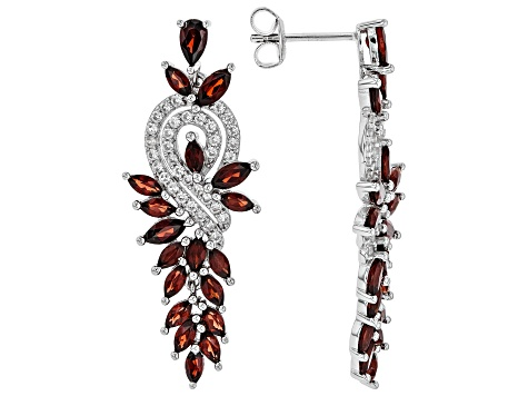 Red garnet rhodium over sterling silver earrings 4.66ctw