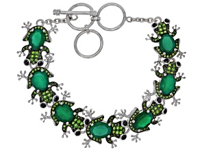 Green Onyx Rhodium Over Sterling Silver Frog Bracelet 2.45ctw