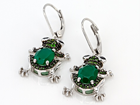 Green Onyx Rhodium Over Silver Frog Earrings