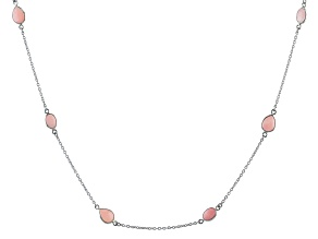Peruvian Pink Opal Rhodium Over Sterling Silver Necklace