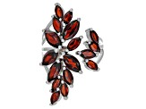 Red garnet rhodium over silver ring 5.61ctw