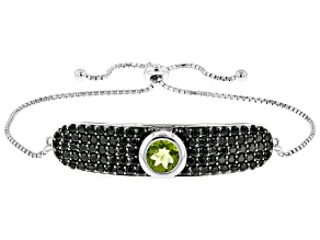 Green peridot  rhodium over sterling silver adjustable bolo bracelet 5.59ctw
