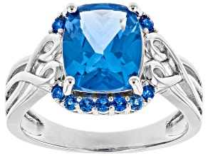 Blue Lab Created Spinel Rhodium Over Silver Ring 2.96ctw