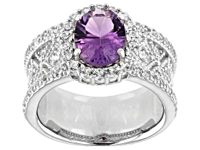 Purple amethyst rhodium over silver ring 2.63ctw