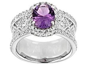 Purple amethyst rhodium over silver ring 2.63ctw