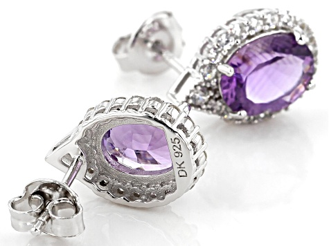 Purple amethyst rhodium over silver earrings 3.61ctw