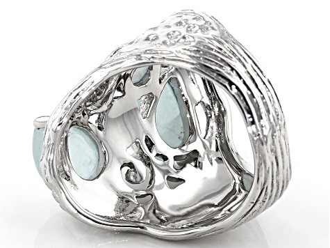 Blue aquamarine rhodium over sterling silver ring