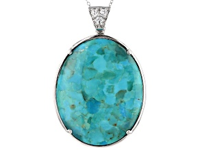 Abalone Shell, Turquoise & Topaz Rhodium Over Sterling Silver Reversible Enhancer with Chain .38ctw