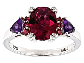 Pink Lab Created Bixbite Rhodium Over Silver Ring 1.81ctw
