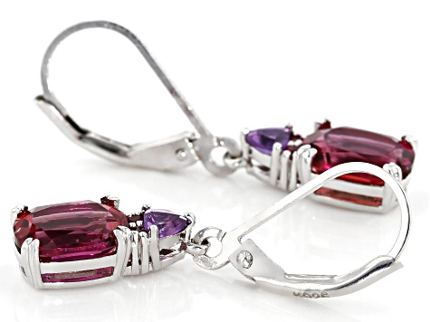 Pink Lab Bixbite Rhodium Over Silver Earrings 2.24ctw