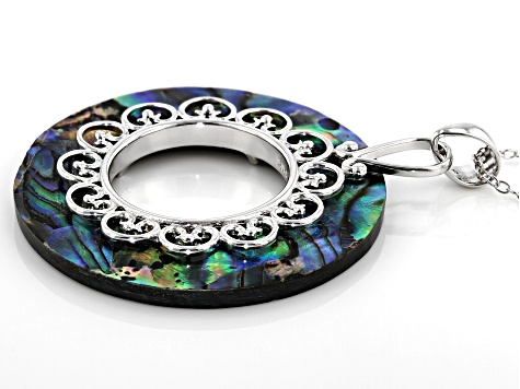 Multi-color Abalone Shell Rhodium Over Sterling Silver Pendant with Chain