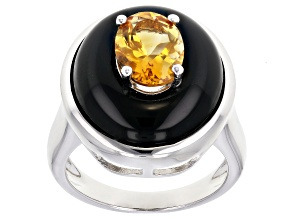 Yellow Citrine Rhodium Over Sterling Silver ring 1.26ct