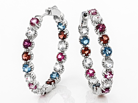 Mixed-Gem rhodium over silver earrings 6.51ctw