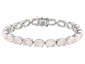 Pink Rose Quartz Rhodium Over Sterling Silver Bracelet