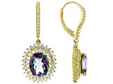 Rainbow quartz 18k yellow gold over sterling silver earrings 5.92ctw