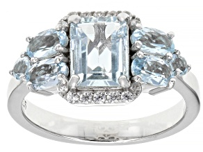 Blue aquamarine rhodium over sterling silver ring 2.35ctw
