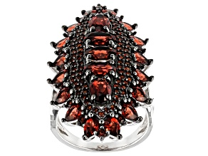 Red garnet rhodium over sterling silver ring 7.81ctw