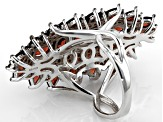 Red garnet rhodium over sterling silver ring 7.81ctw