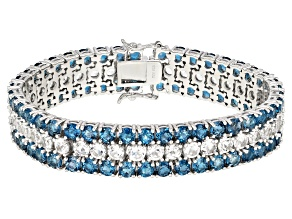 London blue topaz rhodium over sterling silver bracelet 31.66ctw