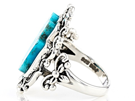 Blue turquoise rhodium over sterling silver hamsa ring