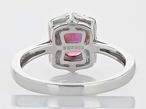 Pink Lab Created Bixbite Rhodium Over Sterling Silver Ring 1.19ctw