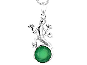 Green onyx rhodium over silver lizard pendant with chain