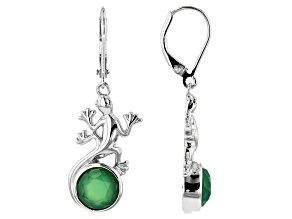 Green onyx rhodium over silver lizard earrings