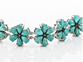 Blue turquoise rhodium over silver bracelet .23ctw