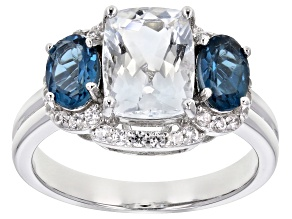 Blue aquamarine rhodium over sterling silver ring 2.88