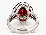 Red garnet rhodium over sterling silver ring 4.34ctw
