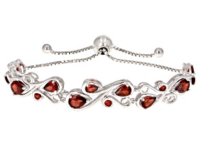 Red garnet rhodium over silver bracelet 5.23ctw