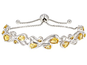 Yellow golden citrine rhodium over silver bolo  bracelet 4.07ctw