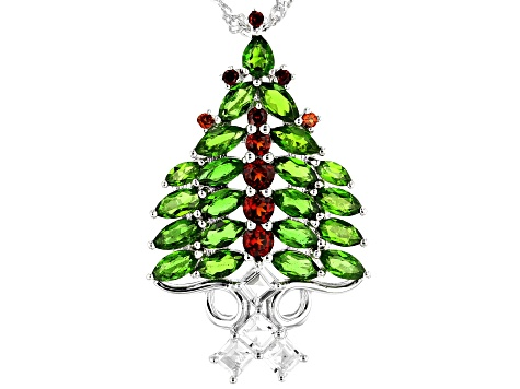 Green chrome diopside rhodium over silver Christmas tree pendant with chain 4.20ctw