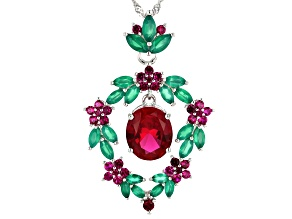 Red lab created ruby rhodium over silver pendant with chain 5.78ctw