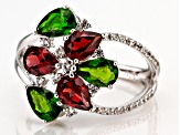 Red garnet rhodium over silver ring 2.66ctw
